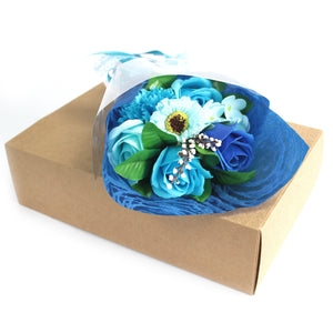 blue soap flower bouquet in box