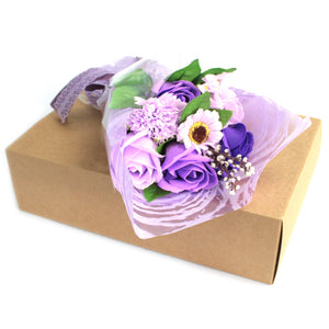 lilac soap flower bouquet in a box