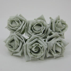 6cm silver coloured foam roses