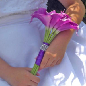 artificial wedding bouquet violet calla lily flowers