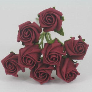 3cm burgundy foam roses flowers