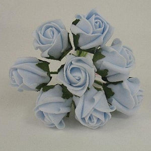 3cm colour fast baby blue foam roses