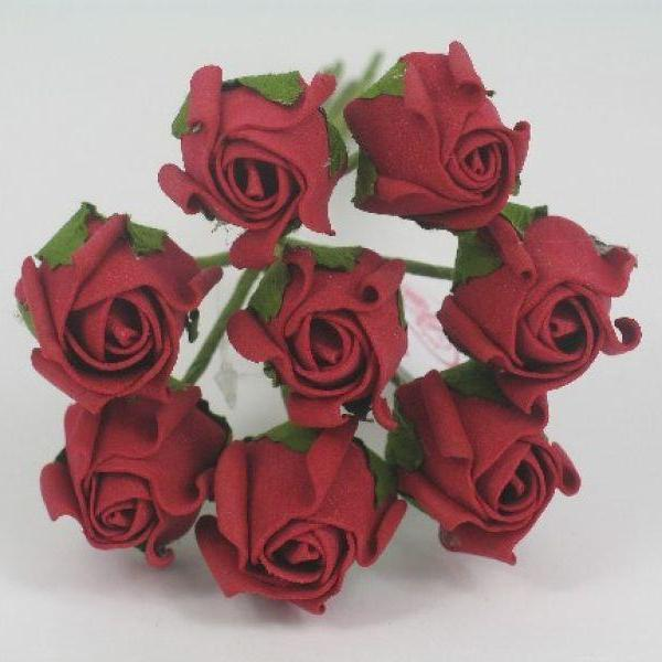 3cm ruby red foam roses
