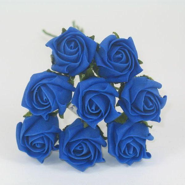 royal blue 3cm foam roses