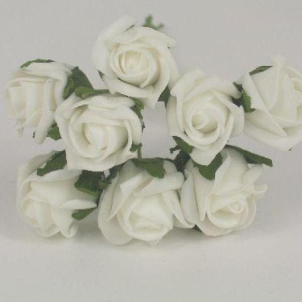 3cm white colourfast foam roses