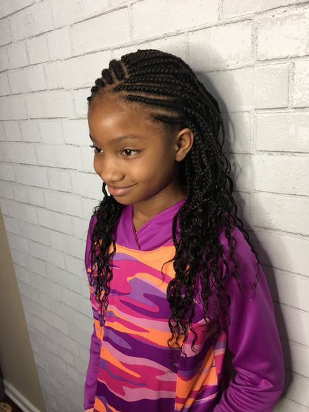Kids Cornrows W Box Braids And Curly Ends Sadesapphire