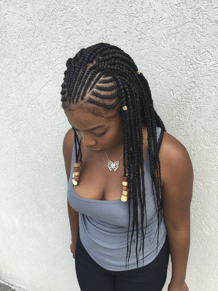 Half Box Braid Style w Tribal Beads – SadeSapphire