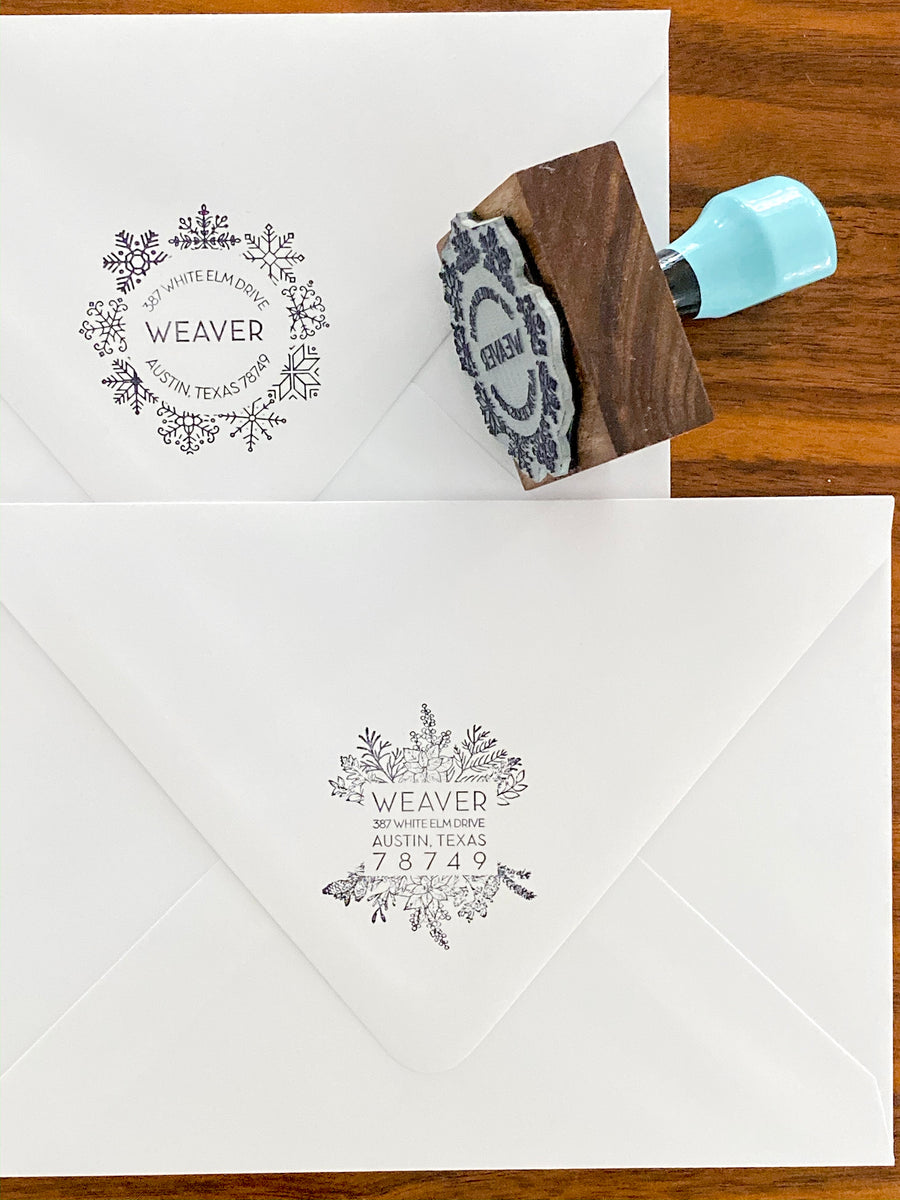 DIY Holiday Envelopes Liner Kit with Return Address Stamp