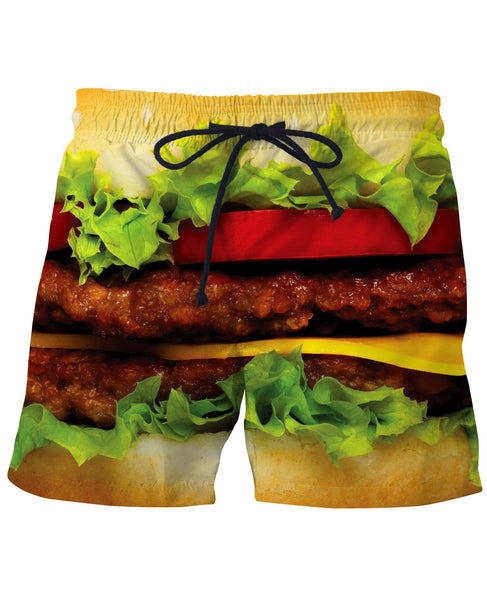ee36871d18 New Mens Funny Food Lover Burger Swim Trunks Bathing Suit With Lining