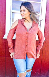 The Henrietta - cold shoulder button up