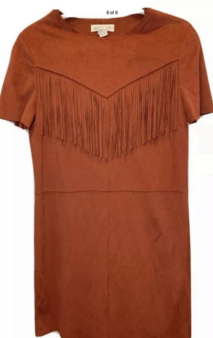 The Vintage Suede Fringe Dress - SMALL