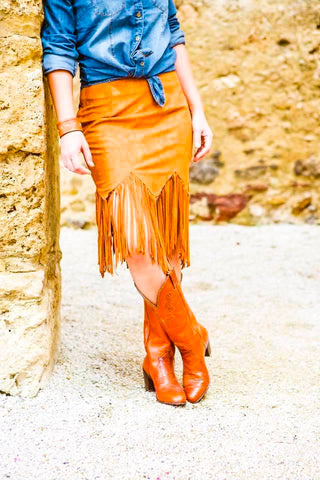 The Frontera - tan fringe skirt
