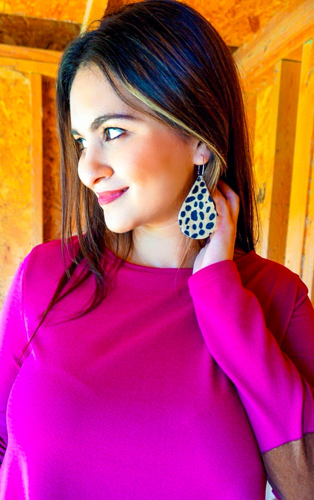 The Chatty Cheetah - hide earrings