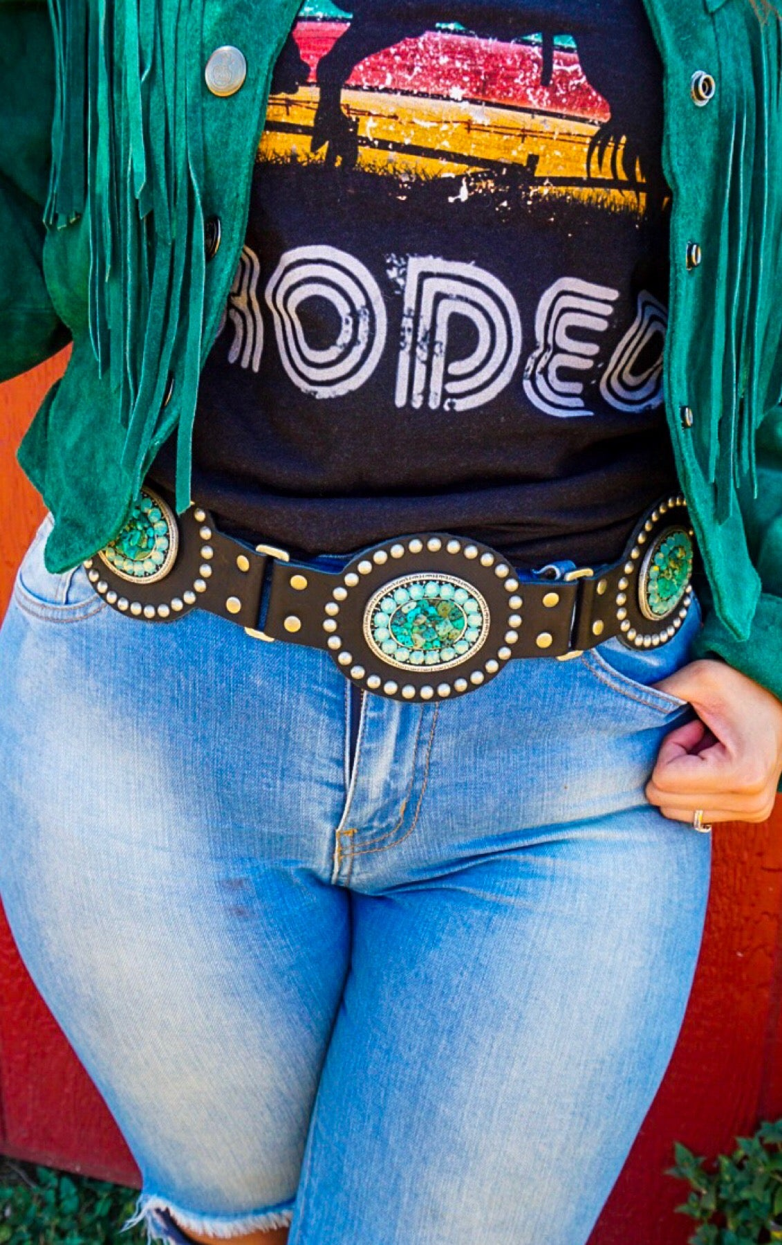 The Kodiak - black concho belt