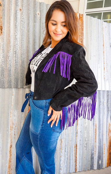 The Vintage Wild Card purple fringe jacket - LARGE