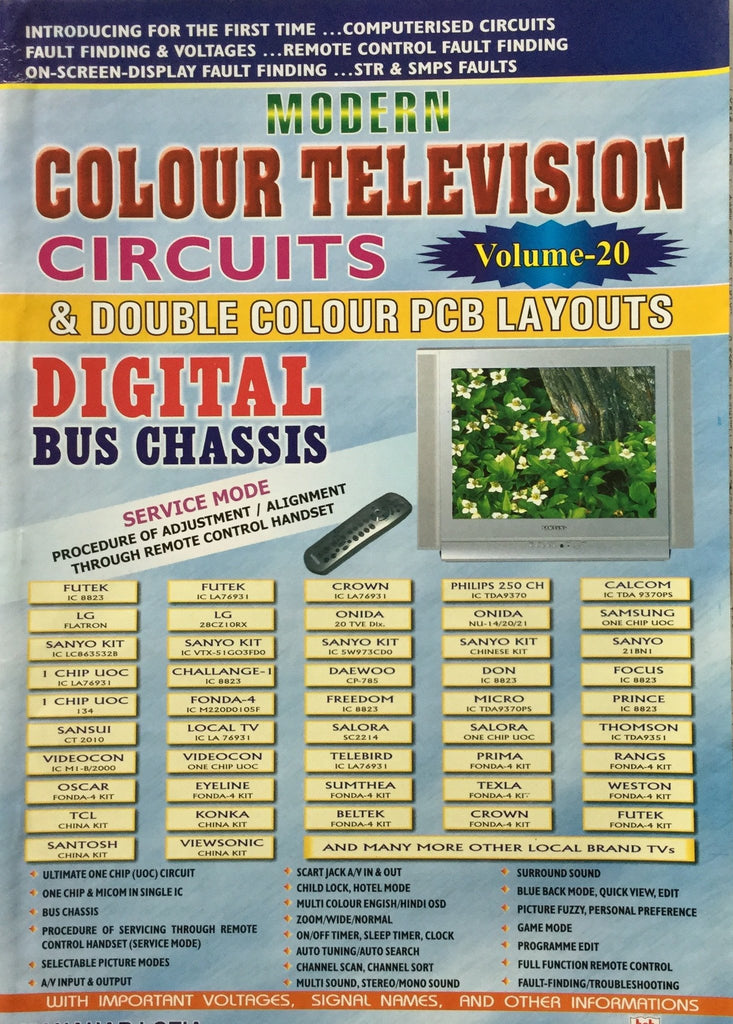 Modern Colour TV Circuits & double Colour PCB Layout Vol 20 by Manahar Lotia