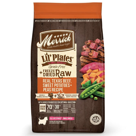 Merrick Lil' Plates Grain Free Beef and Sweet Potato Recipe with Raw Bites Dry Dog Food