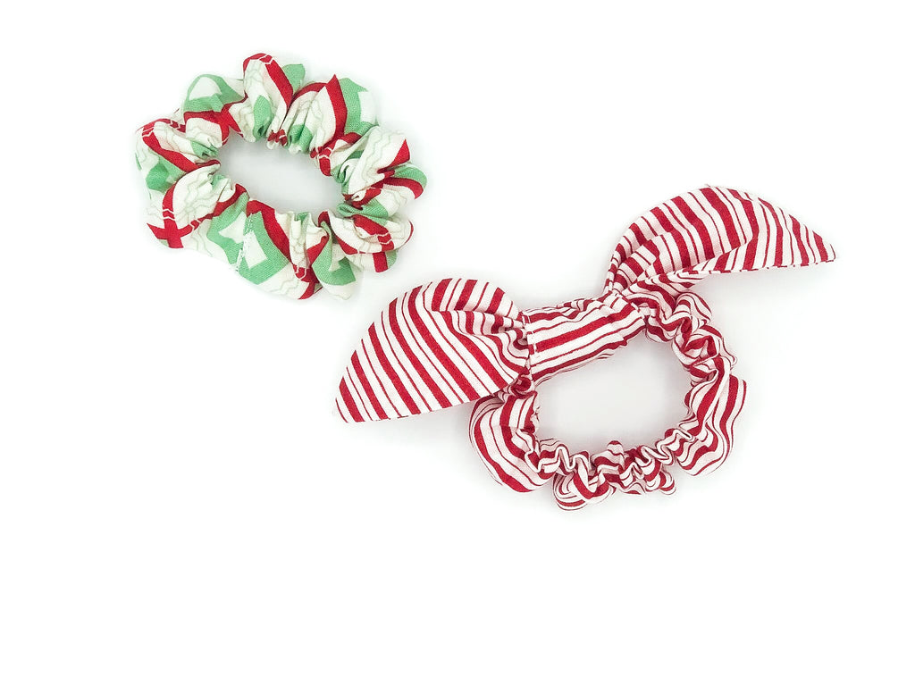 Peppermint Stripes & Abstract Christmas Scrunchies -- Love, Nana