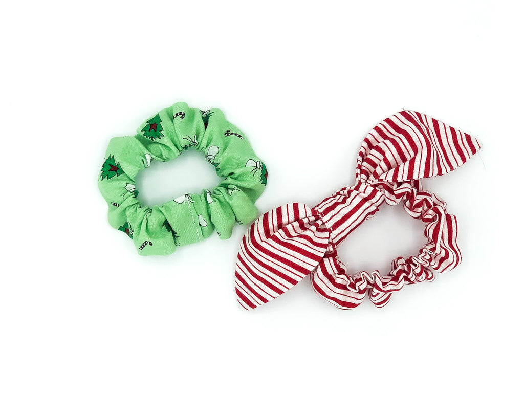 Peppermint Stripes + Christmas Trees Scrunchies -- Love, Nana