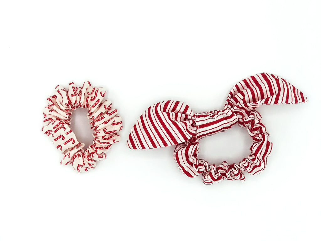 Candy Cane Duo Scrunchies -- Love, Nana