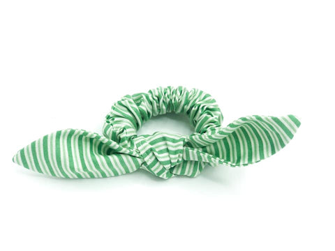 Spearmint Stripes Scrunchie with removable bow -- Love Nana