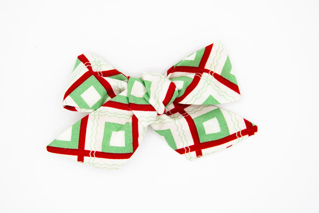 Abstract Christmas Fabric Bow -- Love, Nana