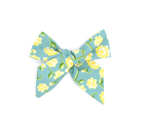 Vintage Blue Floral Hand made Fabric Bow - Love, Nana