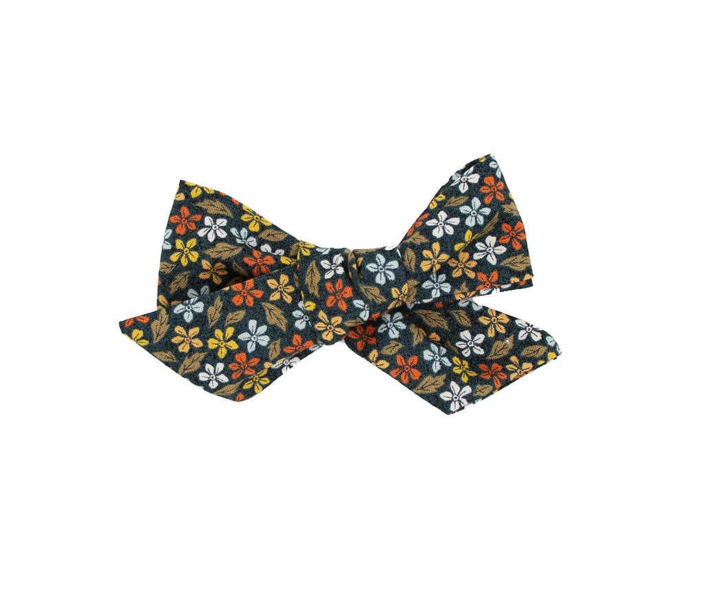 Brown Floral Handmade Fabric Bow -- Love, Nana