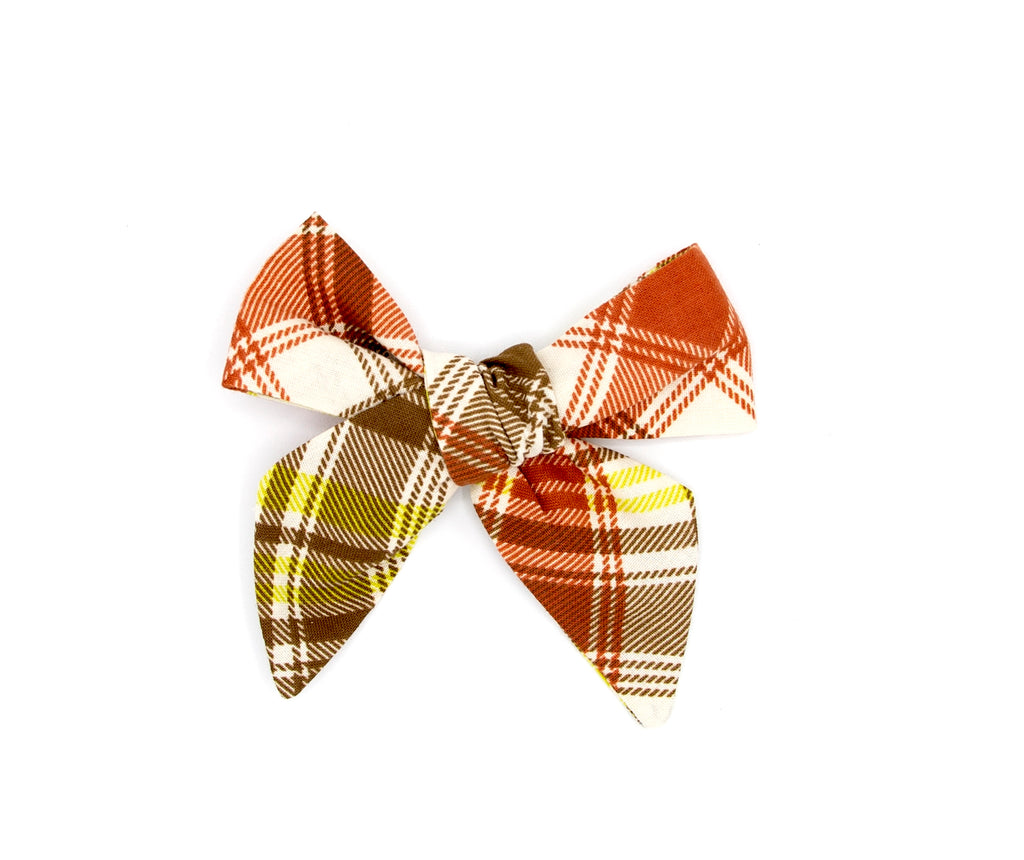 Orange & Brown Plaid Handmade Fabric Bow -- Love, Nana