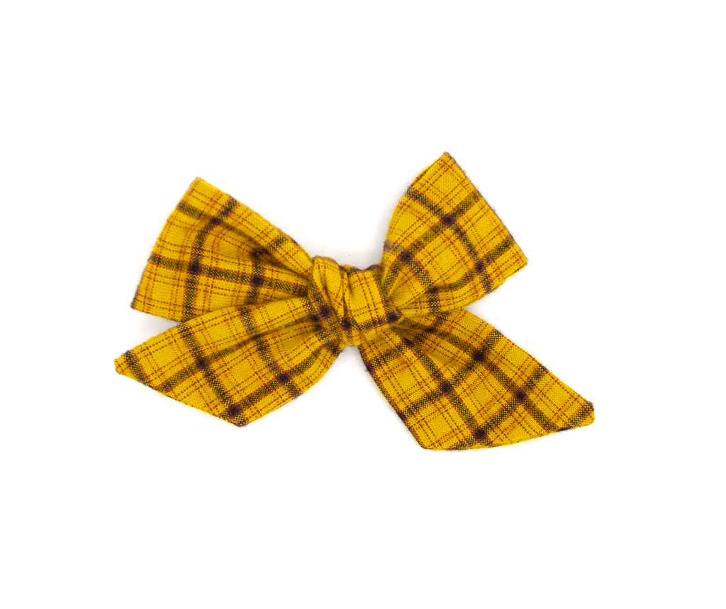 Mustard & Brown Plaid Handmade Fabric Bow -- Love, Nana
