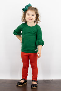 Polly Puffer Shirt in Evergreen