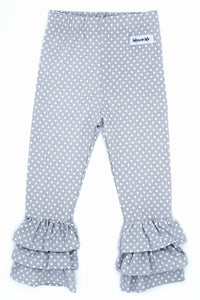 Gray Dots Rosie Ruffle Pants