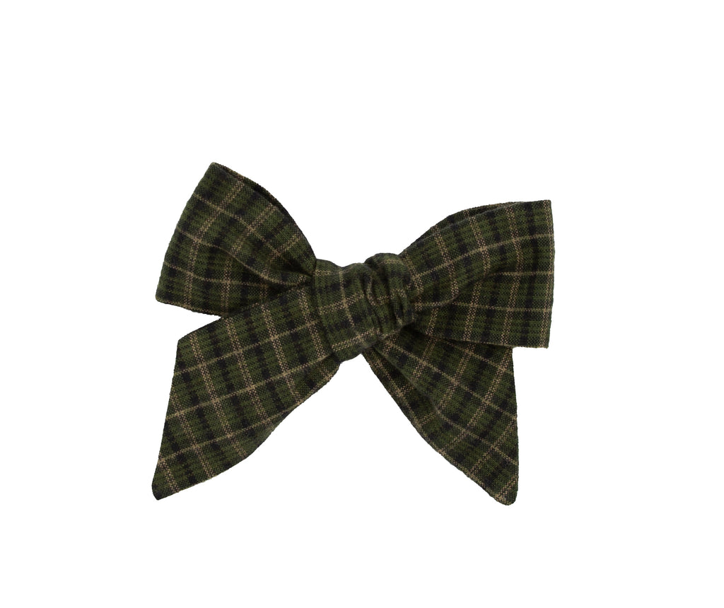 Hunter Green Plaid Handmade Fabric Bow -- Love, Nana