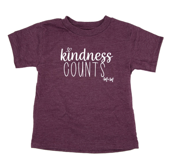 Heather Maroon Kindness Counts Tee -- Adult