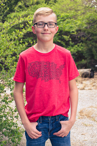 Heather Red JAX Montage Tee -- Youth