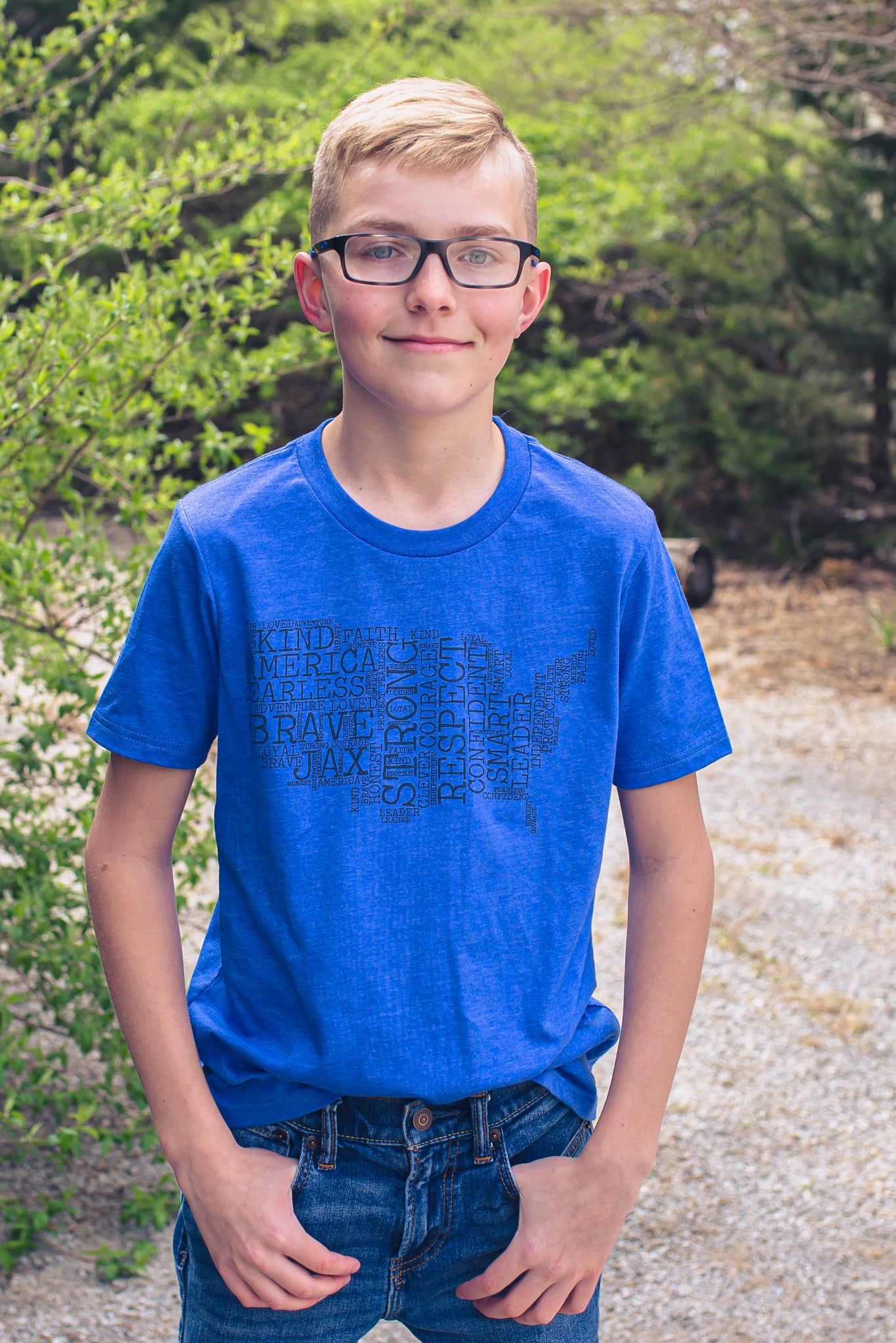 Heather True Royal JAX Montage Tee -- Youth