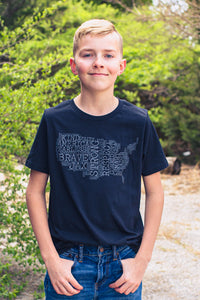 Black Heather JAX Montage Tee -- Youth