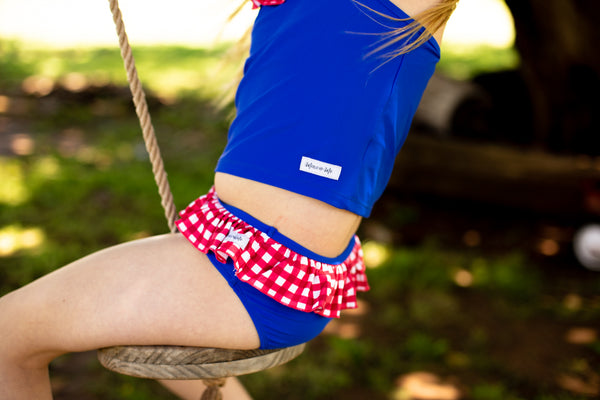 Ruffle Swim Bottoms in Royal Blue