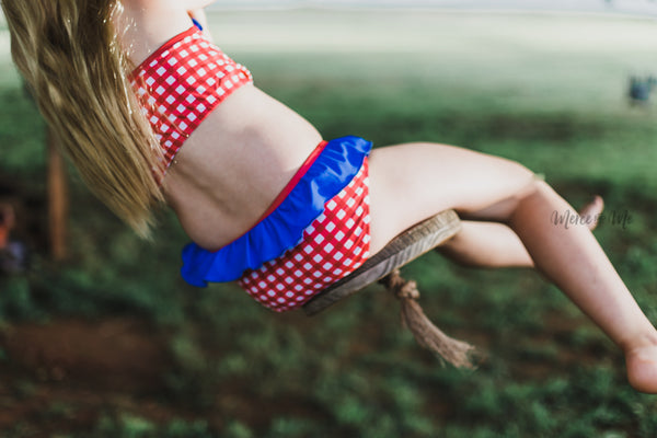 Ruffle Swim Bottoms in Red Gingham