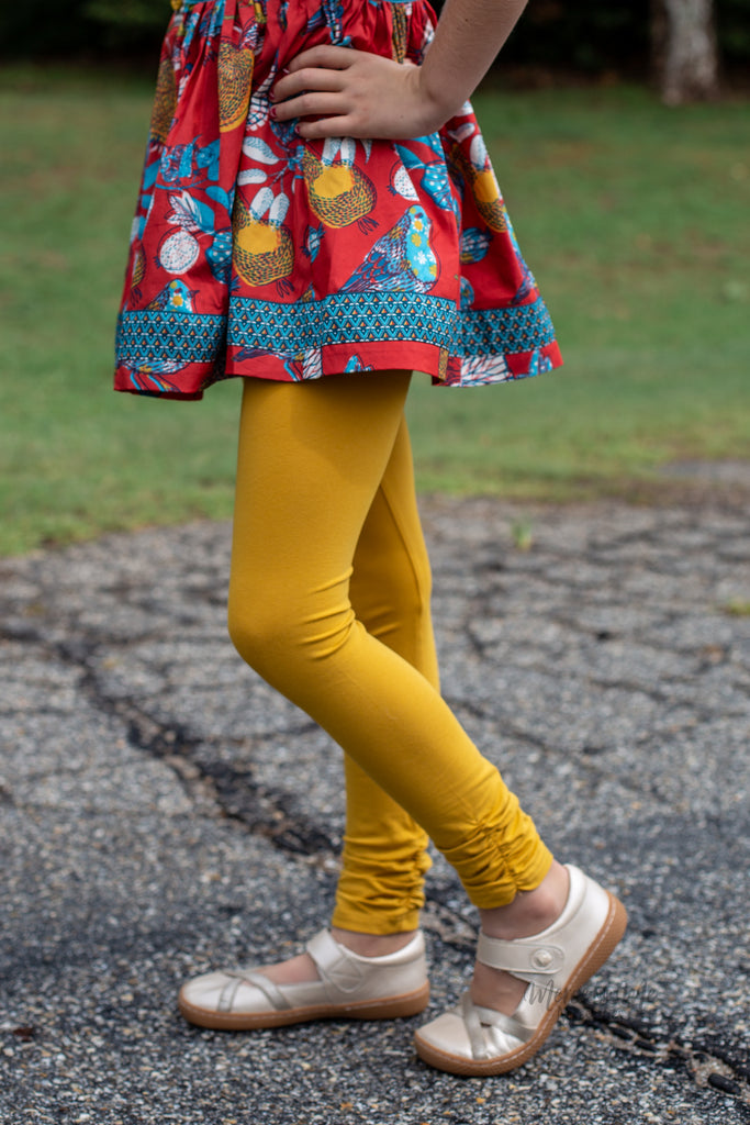 Ava Ruched Leggings in Mustard