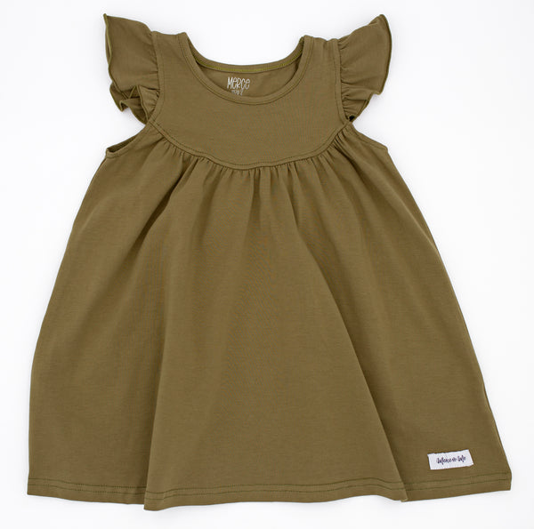 Army Green solid Flutter Sleeve Pearl dress