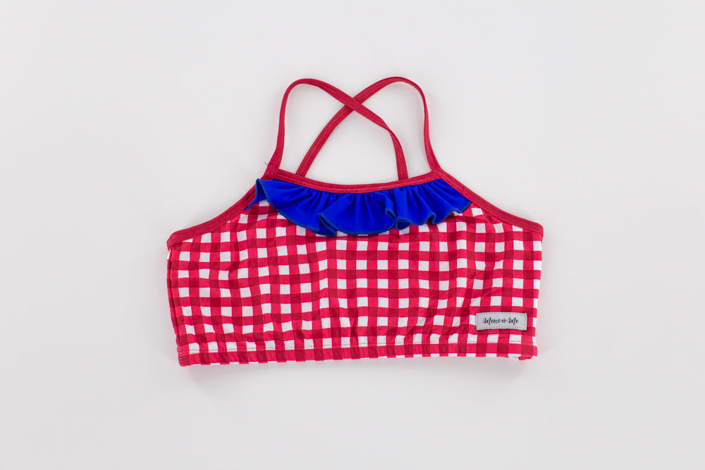 Ruffle Swim Top in Red Gingham