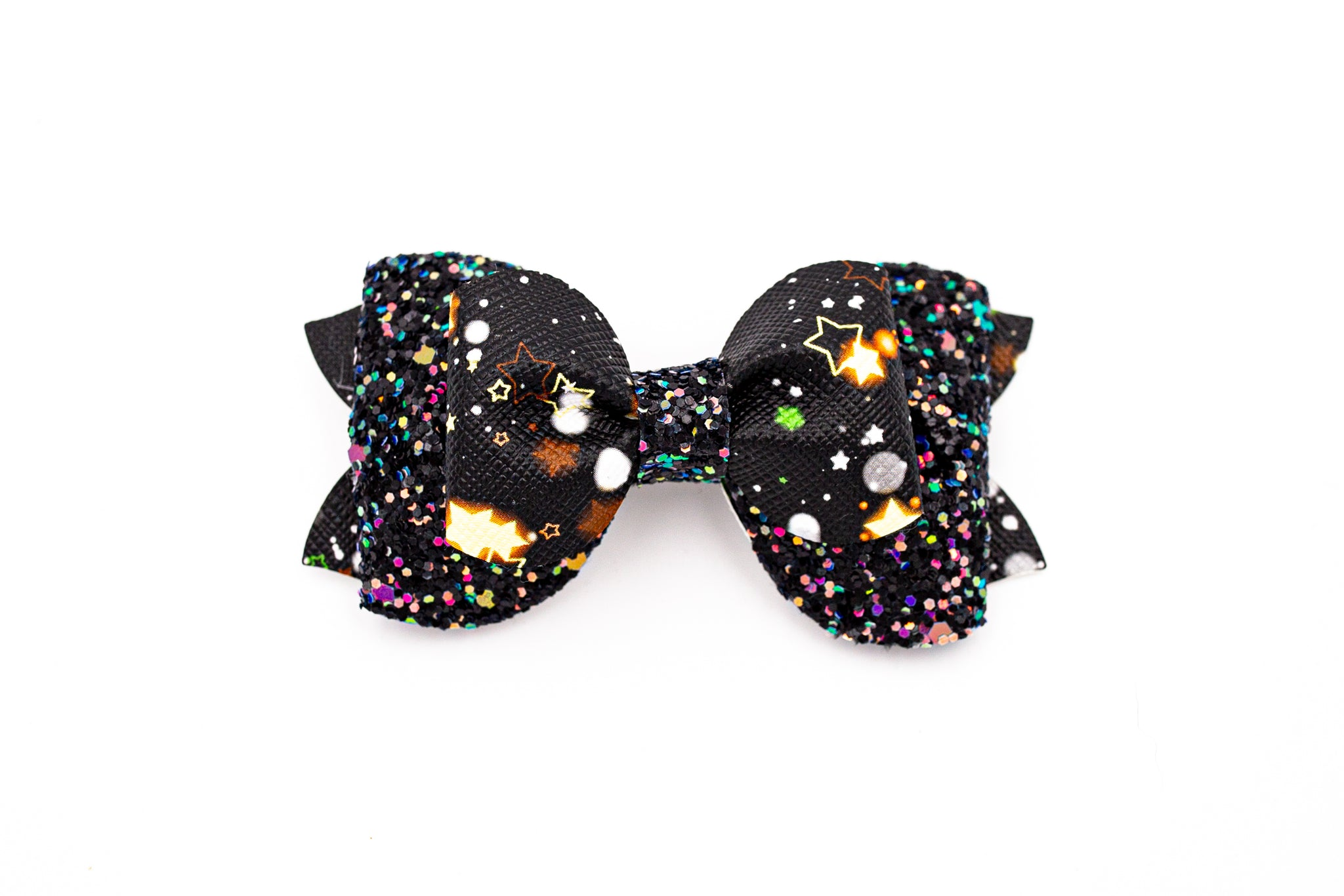 Galaxy Glitter Pinch Pleat Stacked Bow  #1