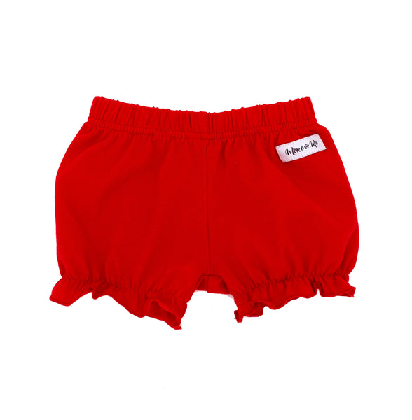 solid red ruffle leg diaper cover for baby and toddler