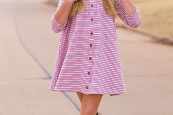 A-line three quarter sleeve vintage length dress with faux button front in berry and creamy white stripes