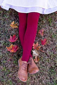 SZ 105 Ivy Cable Knit Tights in Burgundy--SECONDS
