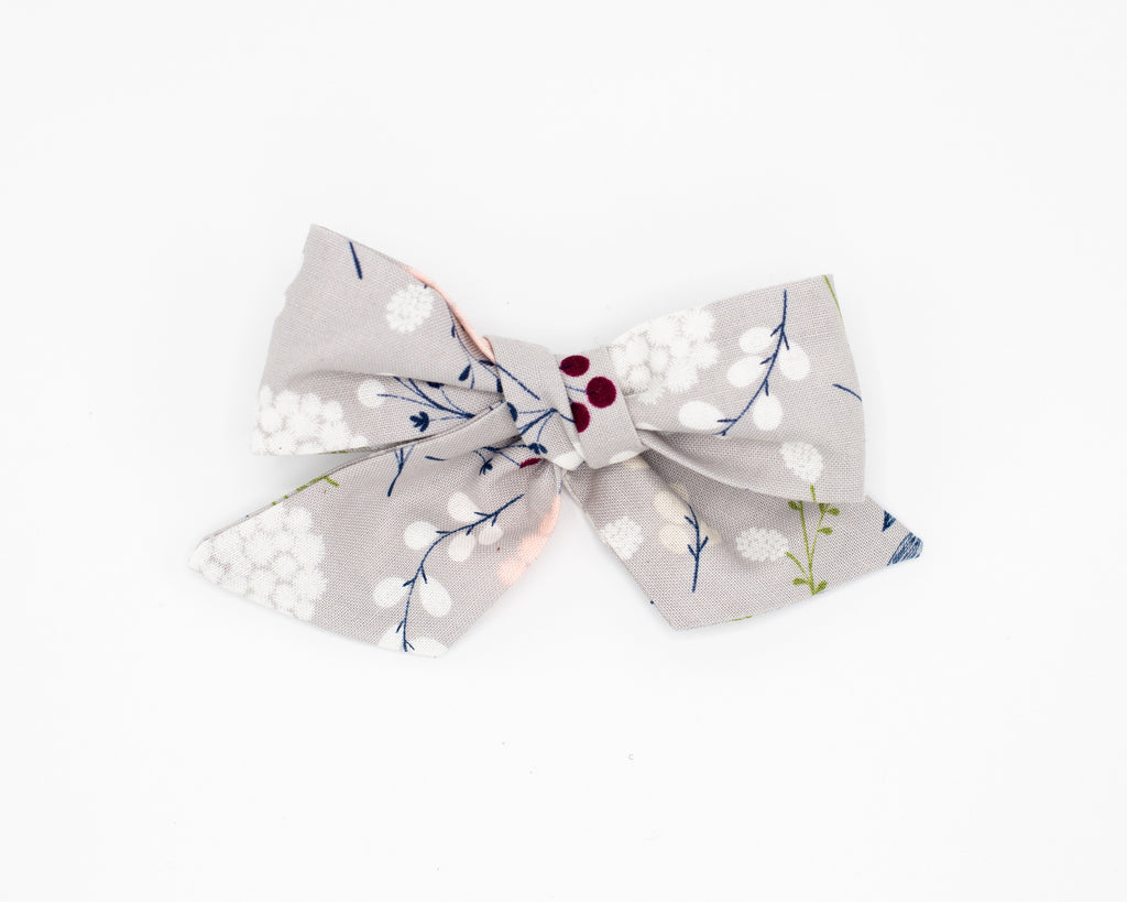 Gray Floral Fabric Bow -- Love, Nana