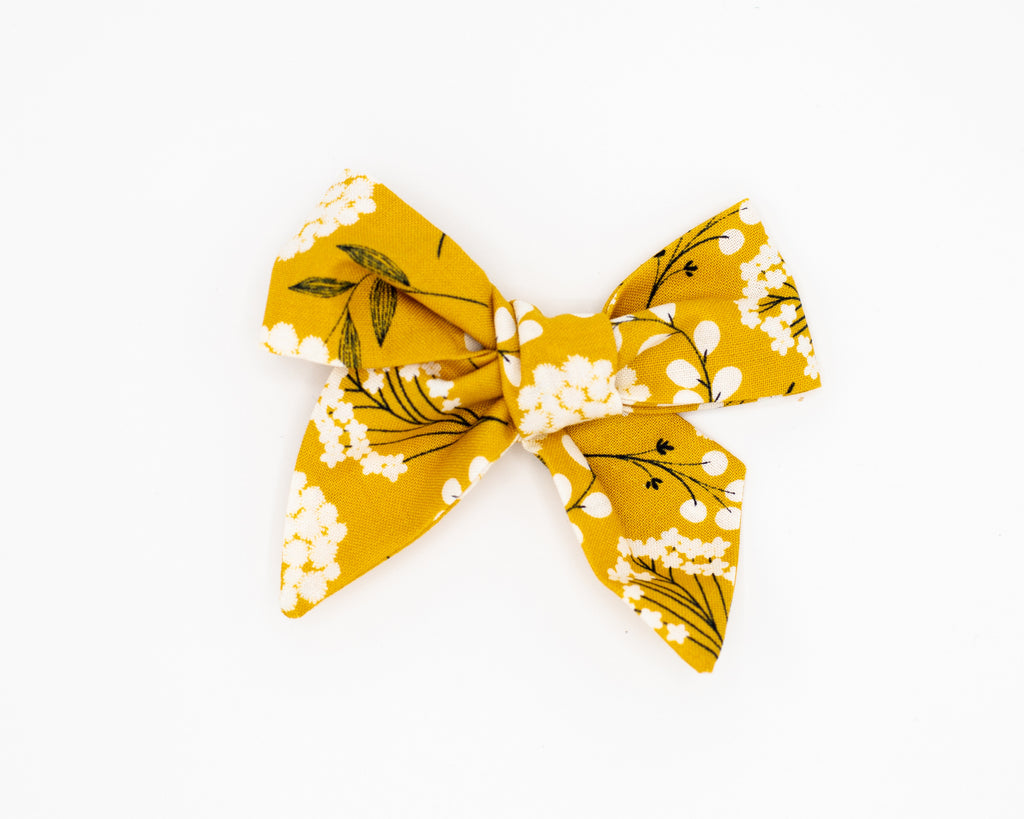 Golden Floral Fabric Bow -- Love, Nana