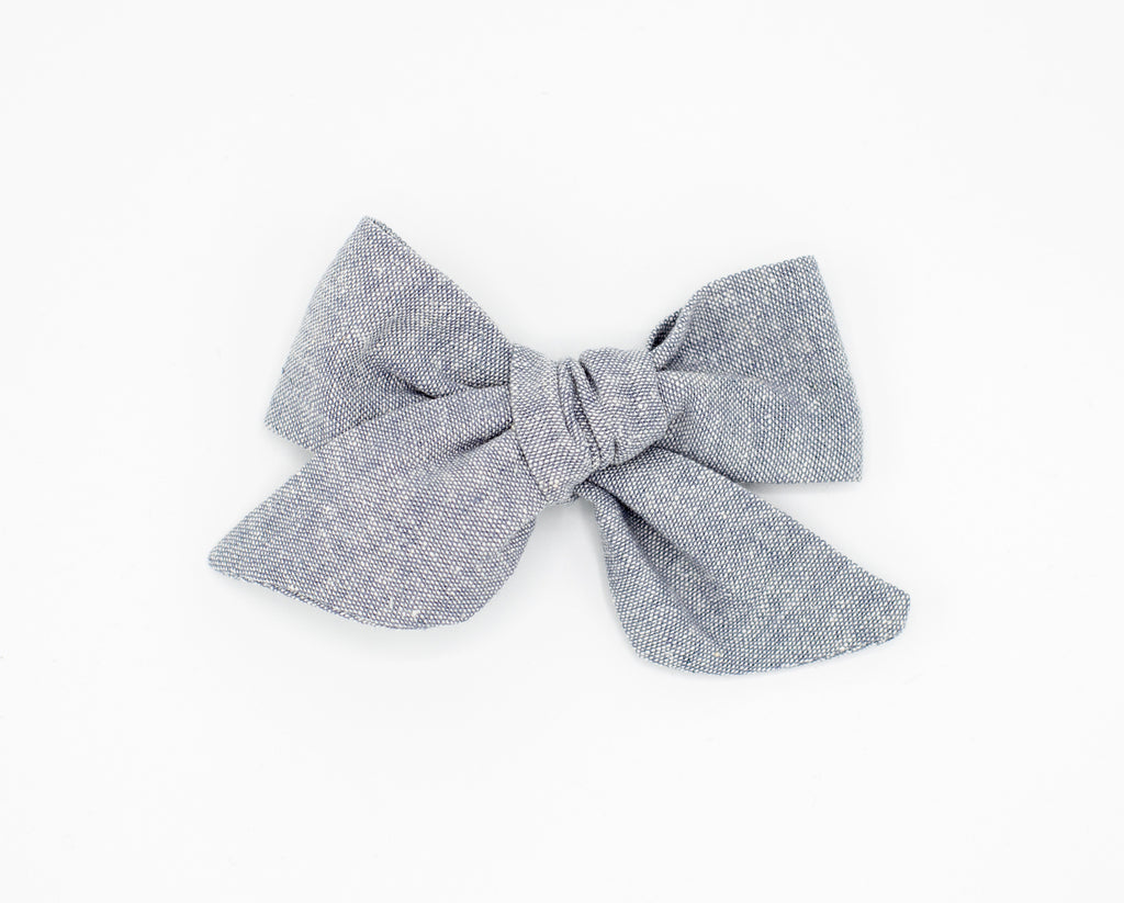 Gray Tweed Fabric Bow -- Love, Nana
