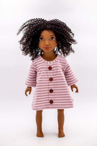 "A-line three quarter sleeve vintage length dress with faux button front in berry and creamy white stripes, for 18"" Dolls"